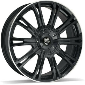 """20"""" WOLF DESIGN VERMONT SPORT GLOSS BLACK POLISHED ALLOY WHEEL For Jeep Wrangler"""