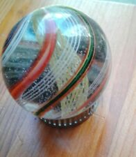 Antique German big colorful caged latticino swirl marble