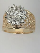 Vintage 14 K Yellow Gold Diamond Cluster Ring Size 7