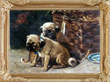 Two PUG PUPPIES Dollhouse Picture - Framed Miniature Dog Art - MADE IN AMERICA