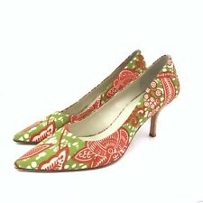 Bettye Muller Alto Pump Womens Size 8M Pointy Toe Floral Textile Cork Heel Shoes