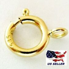New 5mm 14K Yellow Gold Spring Ring Clasp w/ open ring attachment