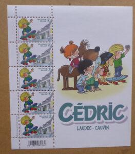 2016 BELGIUM COMICS CEDRIC 5 STAMP MINI SHEET MINT