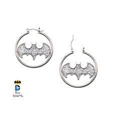 Official DC Batman / Batgirl Logo Glitter Sparkle Hoop / Hoops Dangle Earrings