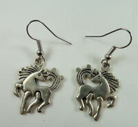 Dancing Horse Cowgirl Earrings, Tibetan Silver, Handmade