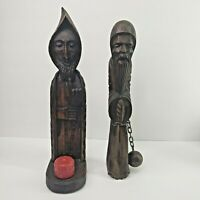 Vintage Wood Carved Friar Monk Man Religious Statue Set Of 2 Candle Ball & Chain