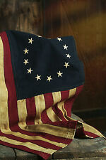 "Betsy Ross American USA Flag - Tea Stained Cotton 13 Embroidered Stars 17"" x 28"""