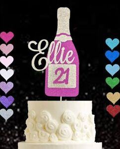 Personalised 21st champagne bottle glitter cake topper 18 30 40 50 60 70 80 90