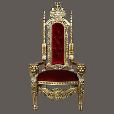 """Gothic Carved Solid Mahogany Wood Lion King Throne Chair - 70""""H - Red/Gold"""