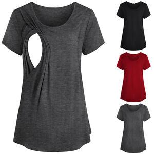 Maternity Breastfeeding Tops Short Sleeve Nursing T-shirt Pregnant Womens Blouse