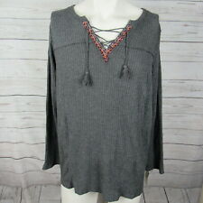 Style & Co 3X Top Womens Gray Grey Lace Up Thermal Shirt Plus Size MSRP
