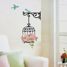 Black DIY Rose Flower Bird Wall Sticker Vinyl Art Removeable Mural Home Decor q