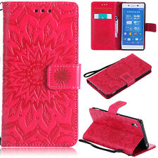 For Sony Xperia X Case XZ Compact Z3 XA Flower Pattern Leather Strap Stand Cover