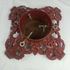 """Antique Vintage Red Ornate Cast Iron Christmas Tree Stand Heavy 15""""X 15'' Base"""