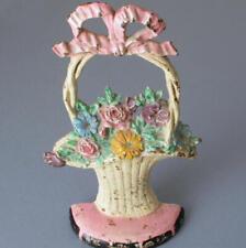 Antique c1920s HUBLEY Cast Iron DoorStop FLOWER BASKET Pink BOW #69 * Orig Paint