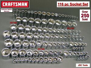 CRAFTSMAN TOOLS 116 pc 1/4 3/8 1/2 Dr SAE METRIC MM SOCKET TOOL SET 127