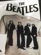 """Mercancía oficial de los Beatles T Shirt L (40/42"""" pecho) Nuevo Blanco/Azul Marino"""