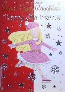 "Girl Pink Dress Hat & Gloves Ice Skating  ""GREAT GRANDDAUGHTER"" Christmas Card"