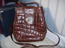très beau sac bandoulière TEXIER cuir roux écailles .(3/J/Y)