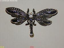 steampunk dragonfly jewellery brooch badge enamel black fantasy insect wings fae