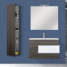 Mobile bagno sospeso 100 cm con lavabo rovere scuro + colonna e specchio