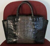 Authentic Michael Kors Embossed Croc Leather Satchel Handbag Purse - Gray/Green
