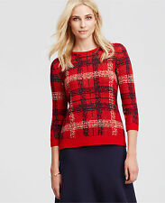 Ann Taylor Plaid Jacquard Sweater, 3/4 Sleeves, Wool Blend, Red, Size M, NWT
