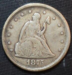 1875-S Twenty Cent Piece 20c Silver Coin -  VF Details