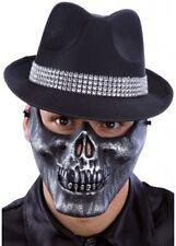 SILVER MASCELLA TESCHIO MEZZO VISO Maschera in Plastica Realistico Halloween Scheletro Costume