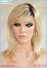 Long Layered Lightweight  Open Cap Wig  Color 102S8 Shaded Creme USA Seller A