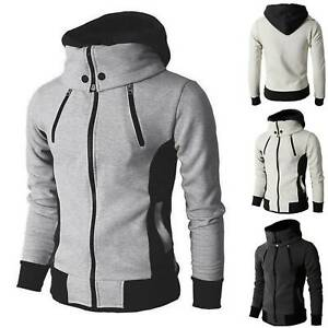 Men Sports Hoodie Fleece Warm Jacket Zip Up Coat Comfy Sweatshirt Work Tops Size