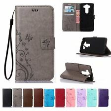 Flip Leather Wallet Cash Cards Holder Stand w/Strap Case Cover For LG Phone