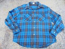 Men's Vintage BIG MAC Flannel Blue Black White Camp Lodge Shirt Workwear Size XL