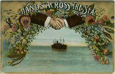 Hands Across the Sea Vintage Postcard Germany