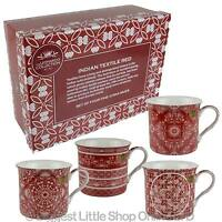 NEW SET of Fine China FOUR MUGS by Leonardo Indian Textile Red Collection Gift