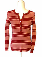 Tory Burch Striped Henley Ribbed Sweater Sz L Burgundy & Pink