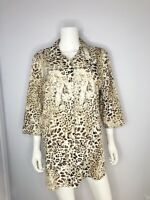 Chico's Size 3 Animal Print No Iron Cotton Button Down Top Blouse Chicos XL