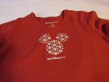 Walt Disney World Long Sleeve T Shirt Red Snowflakes Mickey Ears Vintage