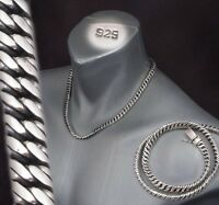 "20"" 133g HEAVY DOUBLE CURB LINK CHAIN 925 STERLING SILVER MENS NECKLACE PRE"