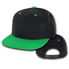 Black & Kelly Green Vintage Flat Bill Snapback Snap Back Baseball Cap Caps Hat