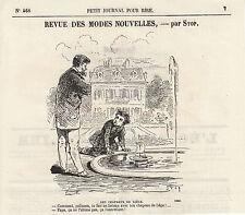 Gravure ancienne 1880  revue des modes nouvelles  Par Stop  XIXème