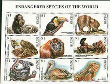 (20628) Minisheet: Nevis: Chimp Koala Bear Pelican Toad