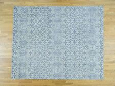 """8'1""""x10' Pure Wool Hand-Knotted Tone-on-Tone Oriental Rug R36373"""