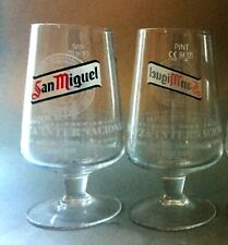 2 x PINT Brand New SAN MIGUEL Chalice - Official Glasses - Unused Pub Stock
