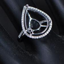 Gold Diamond Anniversary Semi Mount Ring 12x15mm Pear Cut Solid 14K 585 White