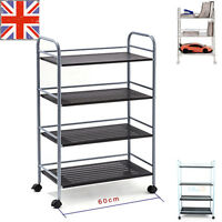 75CM / 100CM 3 4 TIER METAL SHELVING SHELVES RACK CART STORAGE SHELF UNIT HOME