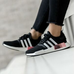 Adidas Original NMD R1 Women's Running Shoe Black Athletic Trainer Boost Sneaker