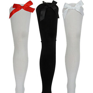 New Womens Ladies Girls Thigh High Long Overknee Bow Socks Stockings Hold ups