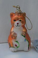 Cobane Blown Glass Orange Cat  Christmas Tree Ornament