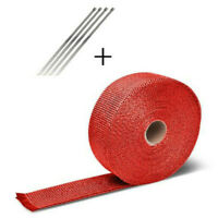 5M Roll Red Exhaust Wrap Manifold Header Pipe Heat Wrap Tape w/ 4 Ties Kit